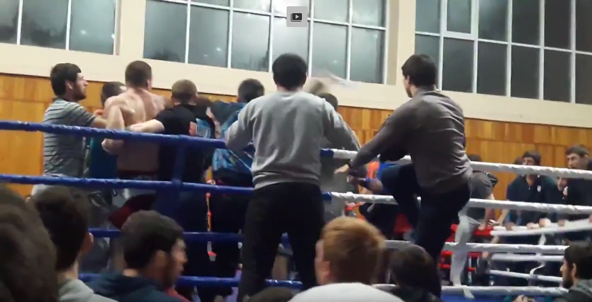 Массовая драка на чемпионате MMA в Дагестане: видео