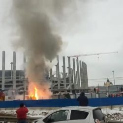 На стадионе строящемся к ЧМ-2018 произошел пожар